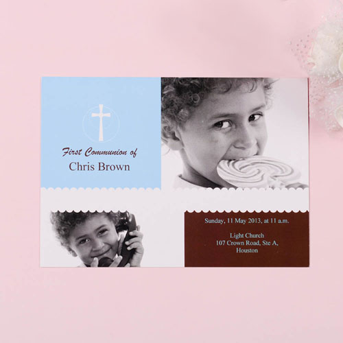 Print Your Own Blue Cross Collage Communication Invitation Cards