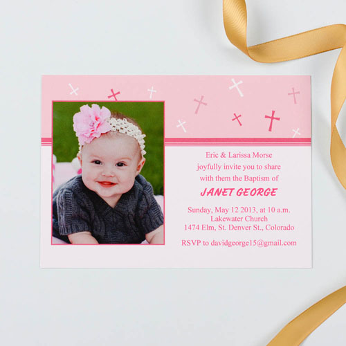 Print Your Own Sweet Reflection – Soft Pink Baptism Photo Invitation Cards