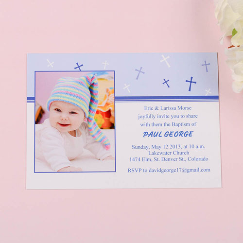 Print Your Own Sweet Reflection – Soft Blue Baptism Photo Invitation Cards