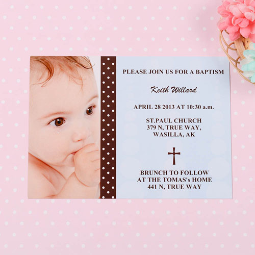 Print Your Own Child Of God – Boy Baptism Photo Invitation Cards