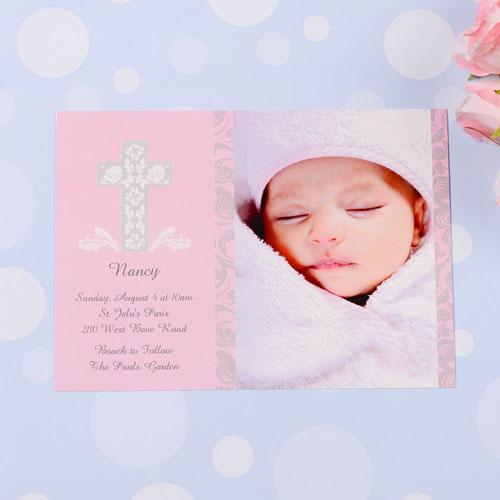 Print Your Own Framed Cross Girl Baptism Photo Invitation Cards