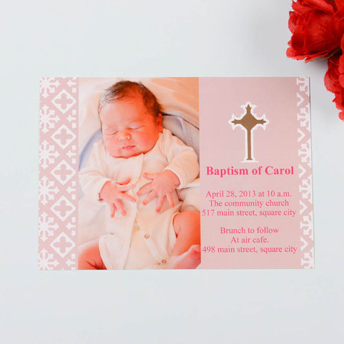 Print Your Own Blessed Baby Pink Baptism Photo Invitation Cards