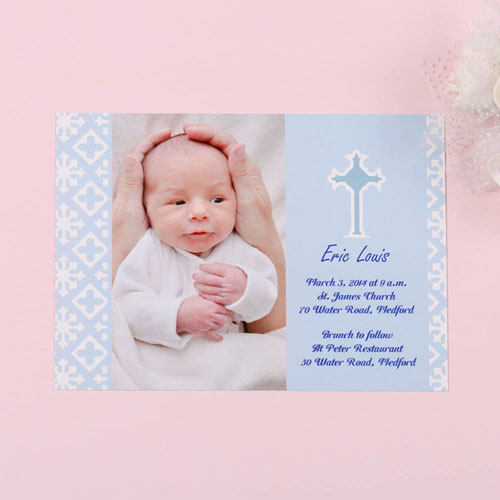 Faithfully Blue Baptism Photo Invitation