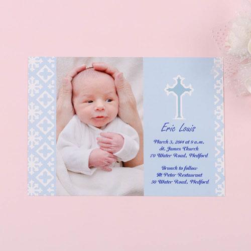 Print Your Own Faithfully Blue Baptism Photo Invitation Cards