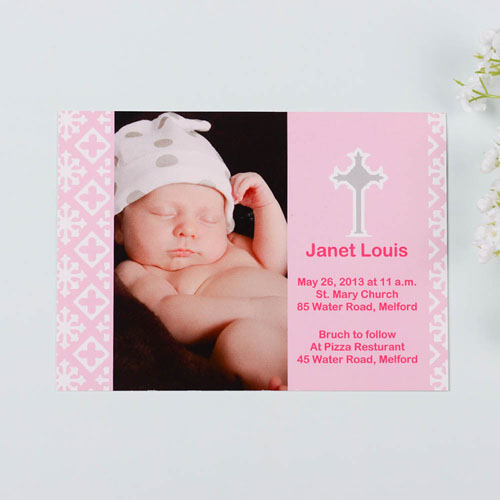 Print Your Own Faithfully Pink Baptism Photo Invitation Cards
