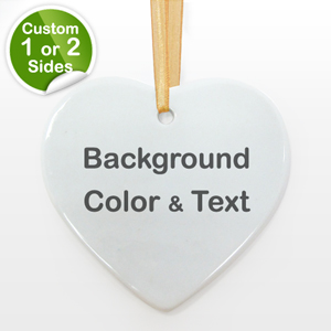 Personalized Background Color & Text Heart Shaped Ornament