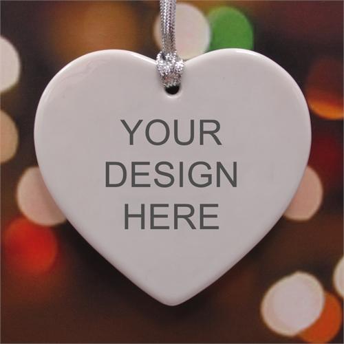 Personalized Custom Ceramic Heart Shaped Ornament