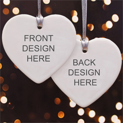 Personalized Custom 2 Sided Heart Shaped Ornament