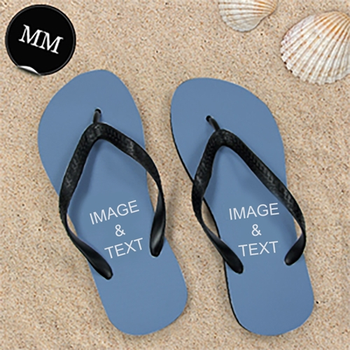 Design My Own Two Images Men Medium Flip Flop Sandals