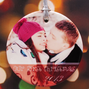 Bright Merry Wishes Personalized Photo Porcelain Ornament