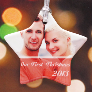 Personalized Stars And Peace Star Shaped Ornament
