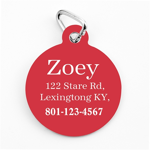 Custom Printed Christmas Red Personalized Message Dog Or Cat Tag