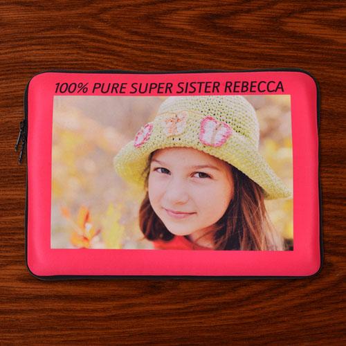 Custom Macbook Pro 13 Sleeve, Hot Pink Border (2015)