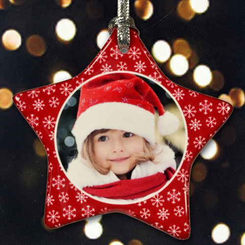 Personalized Sparkling Snowflakes Star Shaped Ornament