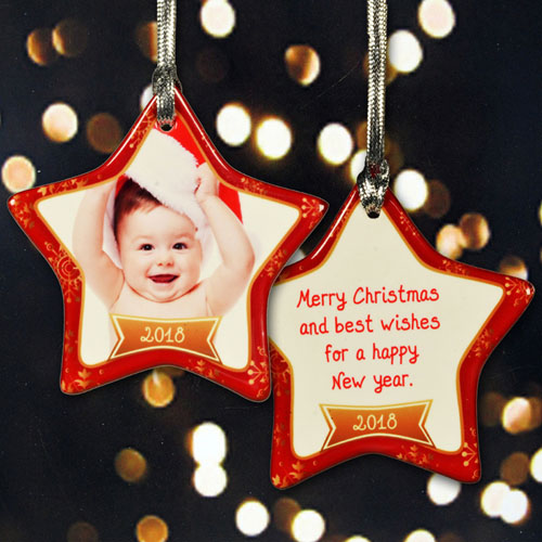 Personalized Frosted With Love Star Shaped Ornament