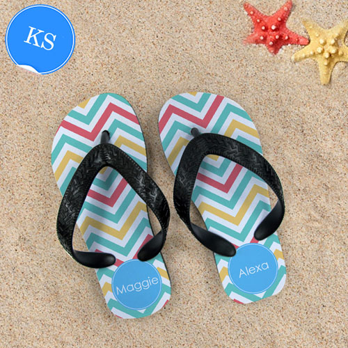 Design My Own Tropical Chevron Personalized Monogrammed, Kids Small Flip Flops