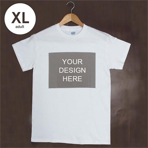 Custom Printed Cotton White Landscape Image Adult Extra Large T Shirt