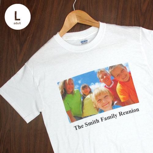 Custom Print Cotton White Image & Text Adult Large T Shirt
