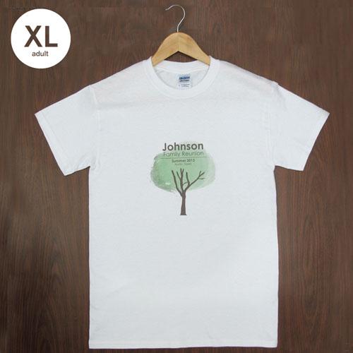 Custom Printed Cotton (White – Mini Portrait), Adult Extra Large T Shirt