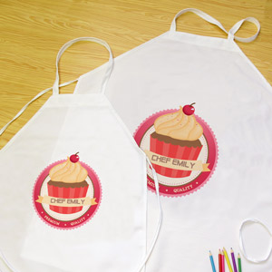My Little Cupcake Personalized Aprons, Adult & Kids Set