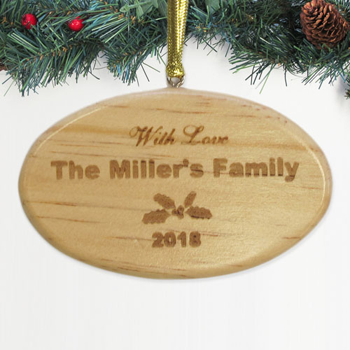 Personalized Engraved Holiday Memories Wood Ornament