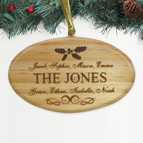 Personalized Engraved Wishing You Happiness Wood Ornament