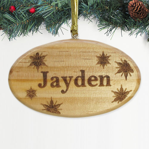 Personalized Engraved Snowflakes Star Wood Ornament