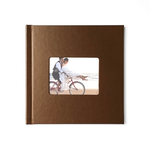 Personalized 12X12 Brown Leather Hard Cover Photo Book