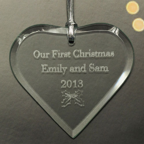 Personalized Engraved Heart Of Love Heart Shaped Ornament