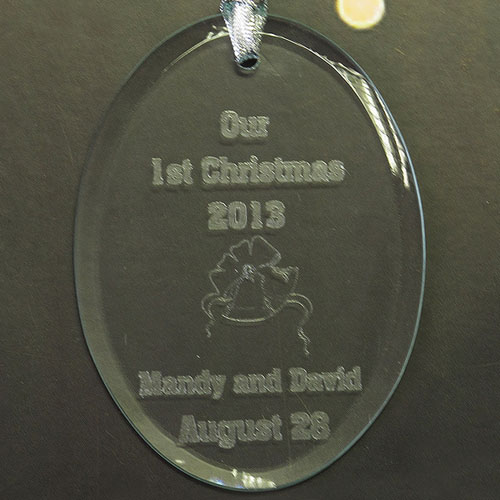 Personalized Laser Etched First Christmas Glass Ornament