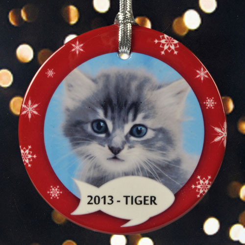Kitty's Christmas Personalized Photo Porcelain Ornament