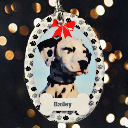 Personalized Paw Prints On Our Heart Porcelain Ornaments
