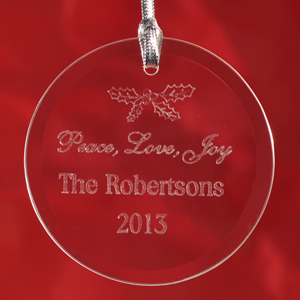 Personalized Engraved Peace, Love & Joy Round Glass Ornament