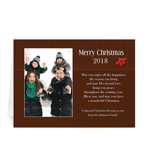 Custom Printed Holly Spring Christmas Landscape Greeting Card