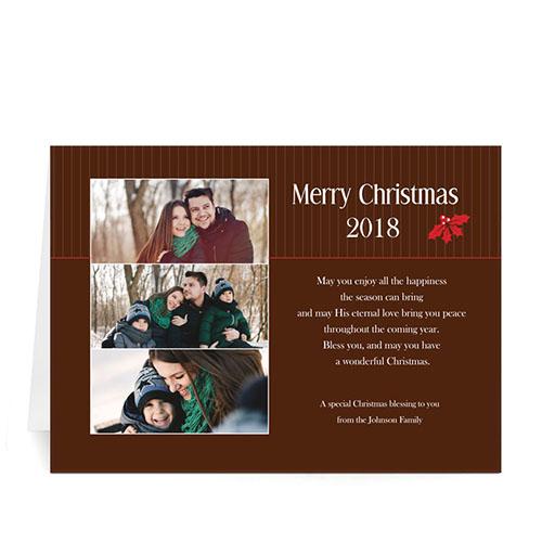 Custom Printed Holly Spring Christmas Three Collage Greeting Card