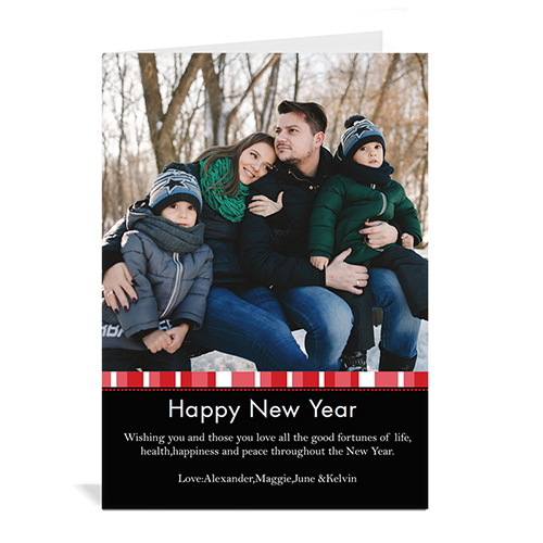 Red Merry Miracle Personalized Portrait Photo Christmas Card