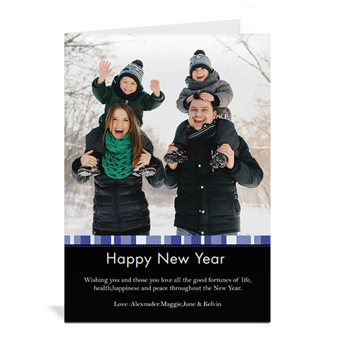 Blue Merry Miracle Personalized Portrait Photo Christmas Card