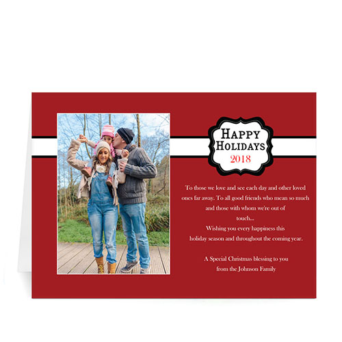 Custom Printed Red Placed Moments Landscape Greeting Card