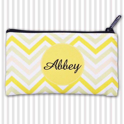 Custom Modern Yellow Chevron 4X7 Makeup Bag