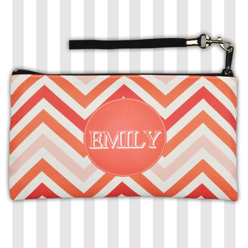 Personalized Coral Chevron Stripes Monogrammed 5.5X10 Clutch Bag (5.5X10 Inch)