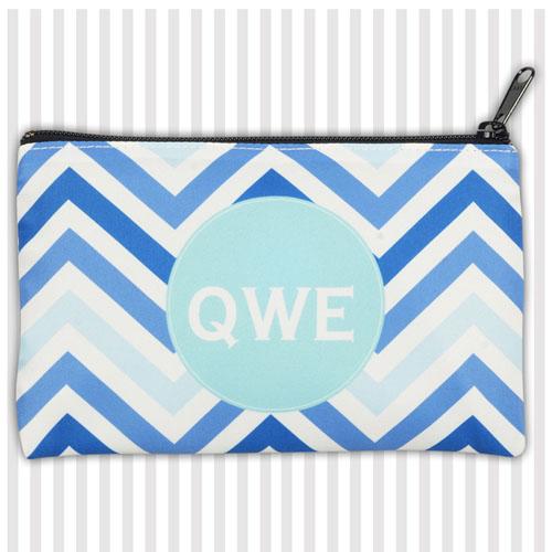 Monogrammedmed Blue Chevron Medium Makeup Bag (5 X 8 Inch)