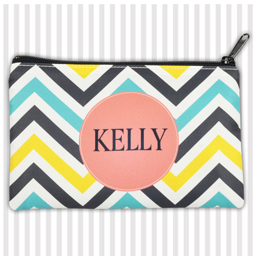 Lemon Blue Carol Chevron Medium Makeup Bag (5 X 8 Inch)