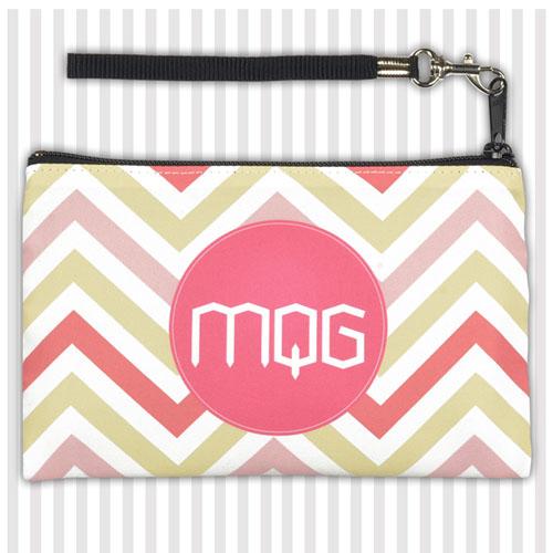 Personalized Pink Yellow Carol Chevron Wristlet Bag (Medium Inch)