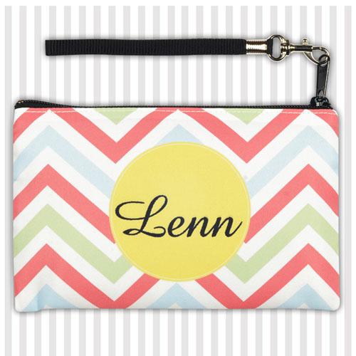 Personalized Coral Lime Green Yellow Chevron Wristlet Bag (Medium Inch)