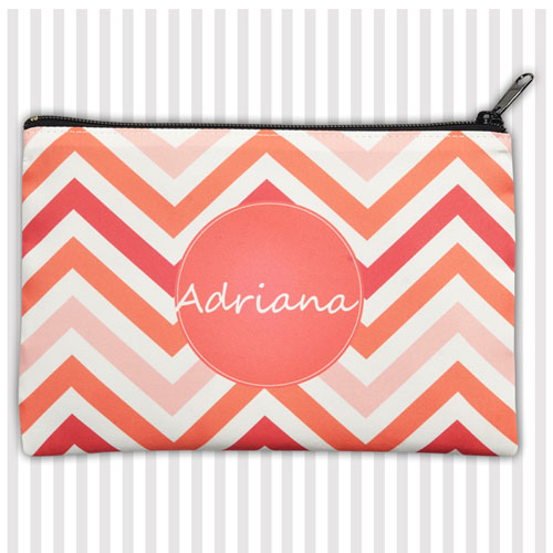 Personalized Coral Chevron Stripes Monogrammed 6X9 Inch Cosmetic Bag