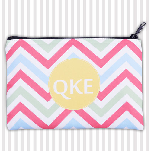 Personalized Coral Lime Green Yellow Chevron 6X9 Inch Cosmetic Bag