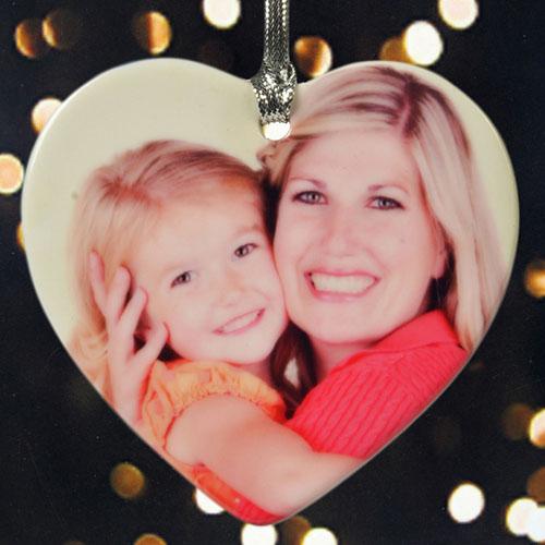 Personalized Precious Memories Photo Heart Shaped Ornament