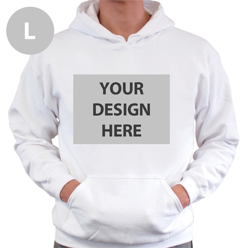 Personalized Custom Full Front No Zipper White Large Size Hoodie Sweatshirt