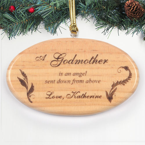 Personalized Engraved Angel From Above Wood Ornament