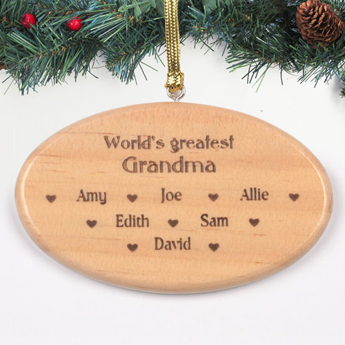 Personalized Engraved Greatest Grandma Wood Ornament